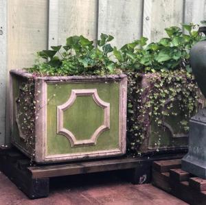 Jefferson Box Pair with Limewash  #longshadowplanters #longshadowvintage #gardendesign