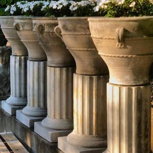 Minoan 19 Urns on Fluted Columns Five Vintage #longshadowplanters #longshadowvintage #gardendesign