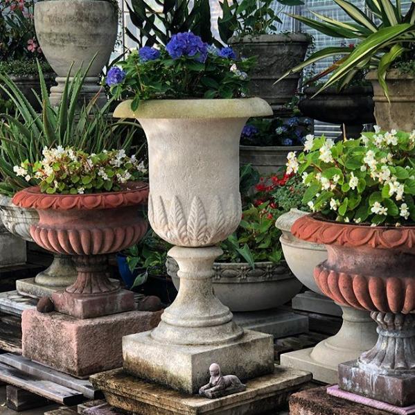 Marlia Grande and Kenilworth 24 and Rustic Plinths PAIR Vintage  #longshadowplanters #longshadowvintage #gardendesign