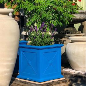 Allen Box Pair Painted Blue Luna Vintage #longshadowplanters #longshadowvintage #gardendesign