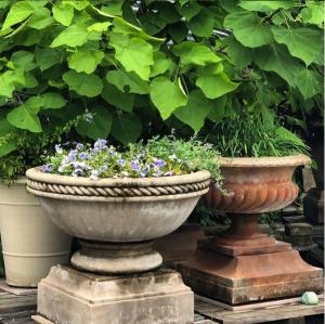 Tuscany Planter and Caron Jardinere with Plinths Vintage  #longshadowplanters #longshadowvintage #gardendesign